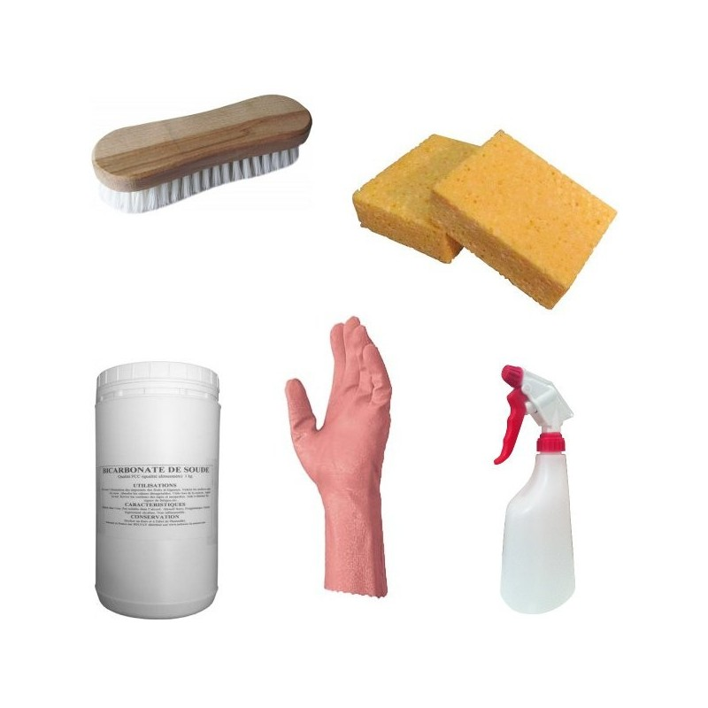pack de nettoyage bicarbonate 1 kg avec brosse gant et pulv risateur. Black Bedroom Furniture Sets. Home Design Ideas