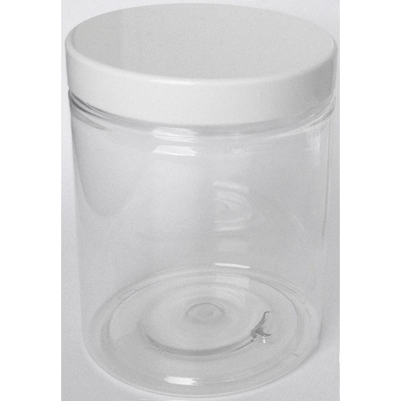 pot plastique cristal rond de 300 ml avec couvercle vissant blanc. Black Bedroom Furniture Sets. Home Design Ideas